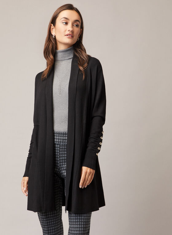 Pearl Detail Long Cardigan, Black