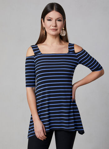Stripe Print Cold Shoulder Top, Black, hi-res