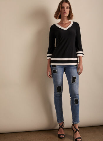 Joseph Ribkoff - Bell Sleeve Contrast Trim Top, Black,  top, blouse, stretchy, v-neck, jersey, contrast, bell sleeves, 3/4 sleeves, spring summer 2020