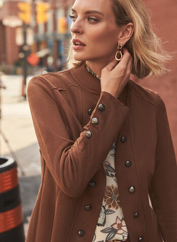 Joseph Ribkoff - Suede Military Jacket, Brown,  fall winter 2021, made in Canada, Joseph Ribkoff, Joseph Ribcoff, Frank Lyman, jacket, open front, long sleeve, button detail, stitch, stitching, layer, suede, soft, military, cropped, short jacket