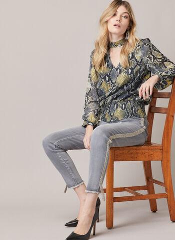 Jeans étroit à bandes métallisées, Gris,  automne hiver 2020, jeans, jambe étroite, denim, strass, métallique, métallisé, poches, ourlet, effiloché, frangé, frange