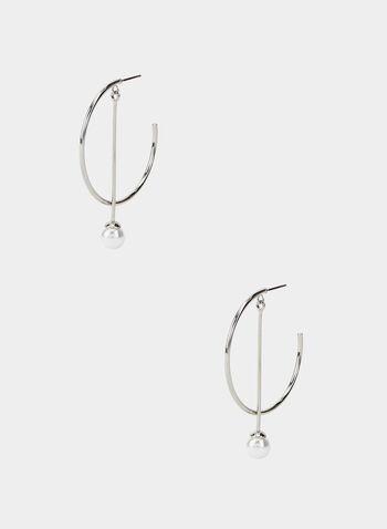 Open Hoop Pearl Earrings, Off White, hi-res,  earrings, open hoop, pearl, fall 2019