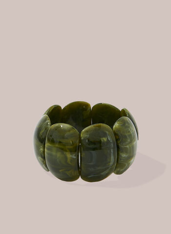 Large Resin Stretch Bracelet, Green,  bracelet, resin, stretchy, spring summer 2020