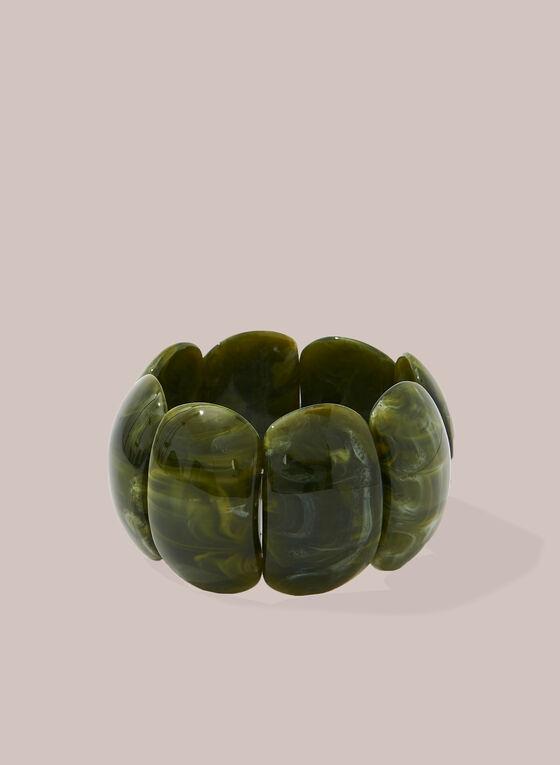 Bracelet large extensible en résine, Vert