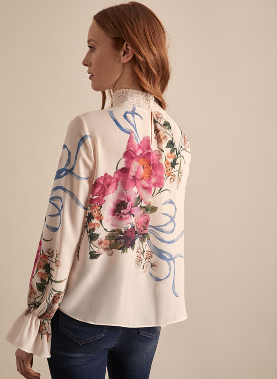 Long Sleeve Floral Print Blouse, White