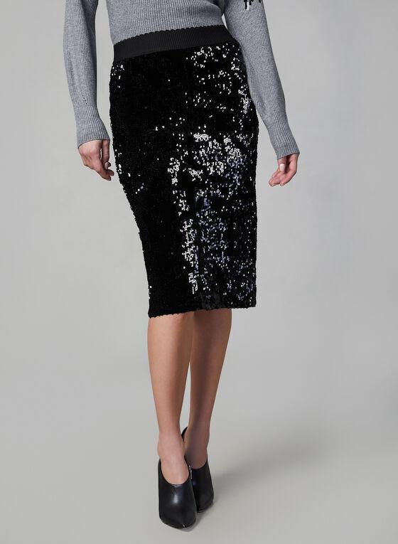 Sequin Pencil Skirt, Black, hi-res