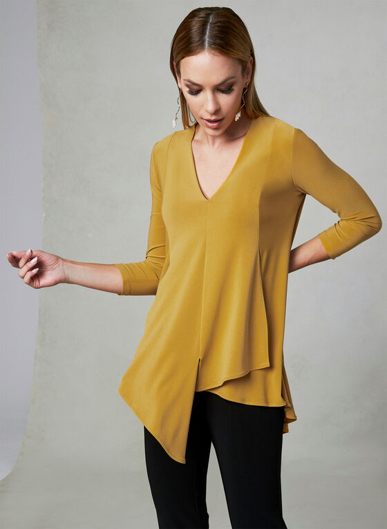 Joseph Ribkoff - Asymmetrical V-Neck Top, Gold