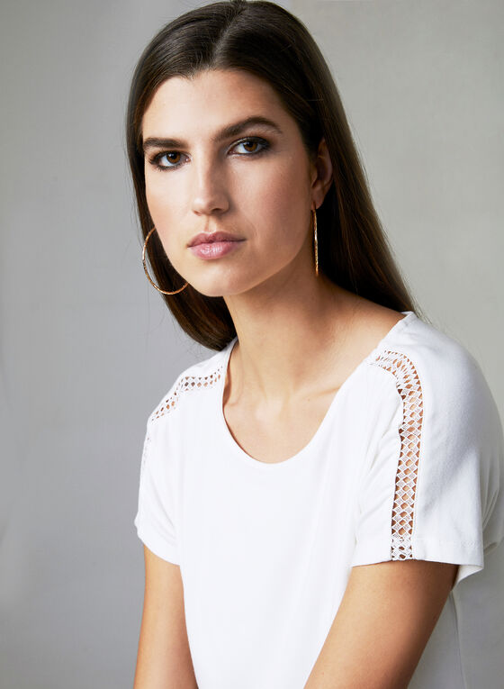 Crochet Boat Neck Top, Off White