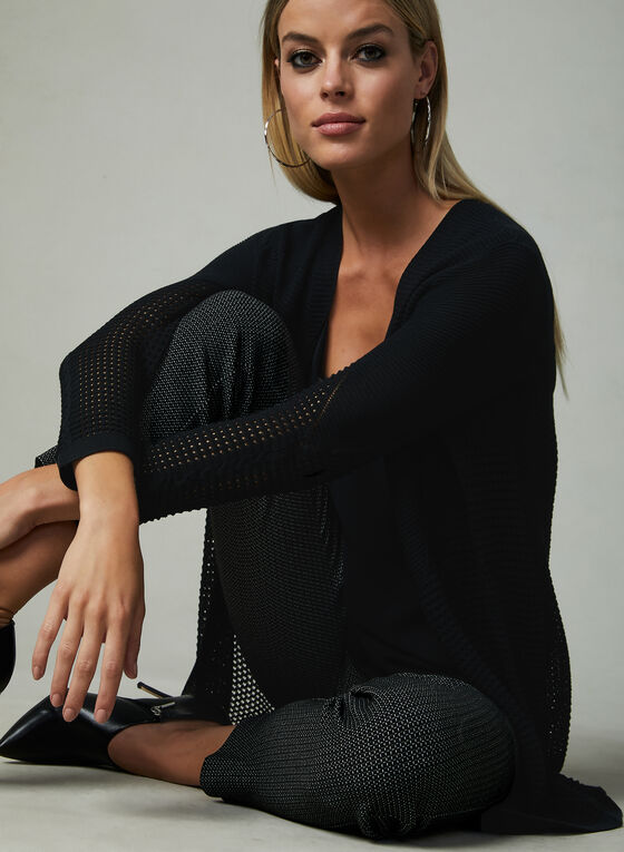 Long cardigan en tricot à détails perforés, Noir, hi-res
