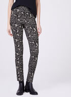 Pull-On Slim Leg Floral Print Pants, Black, hi-res