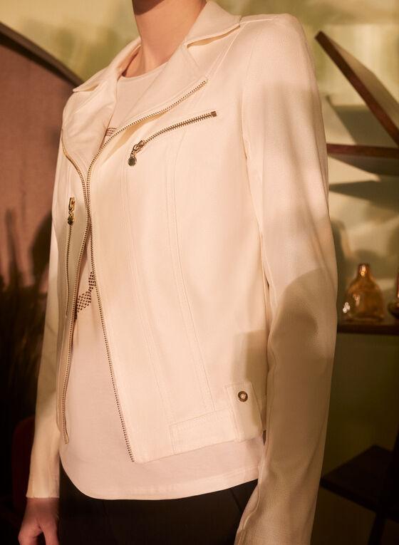 Vex - Veste en faux cuir et zips, Blanc cassé