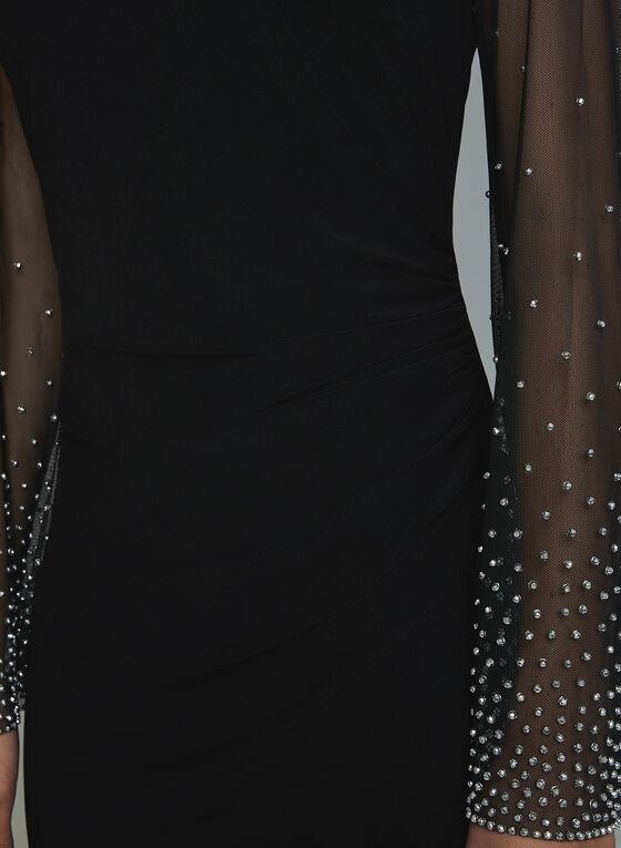 Cachet - Robe à manches cloutées en maille, Noir, hi-res