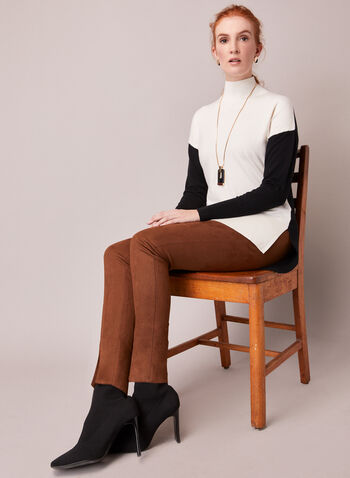 Two Tone Turtle Neck Sweater, Off White,  fall winter 2020, sweater, knit, long sleeves, funnel neck, contrasting, two-tone, blocks, holiday