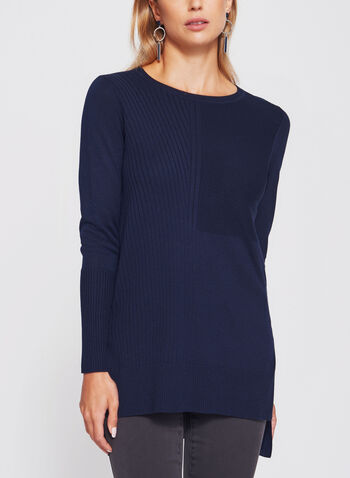 Mixed Stitch Tunic Sweater, Blue, hi-res