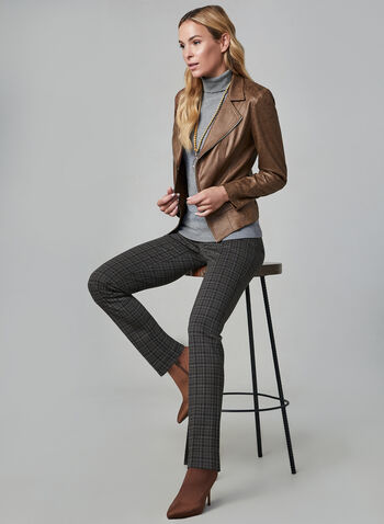 Madison Plaid Print Pants, Grey, hi-res,  slim leg, high rise, pleats, madison fit, fall 2019, winter 2019