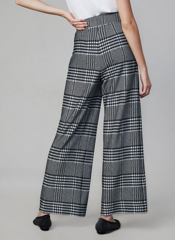 Joseph Ribkoff - Plaid Print Wide Leg Pants, Black