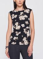 Floral Print Side Drape Top, Brown, hi-res
