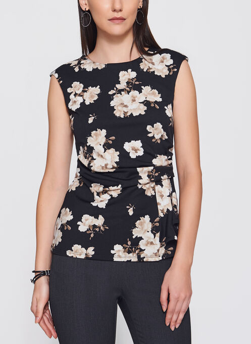 Floral Print Side Drape Top, Brown, hi-res