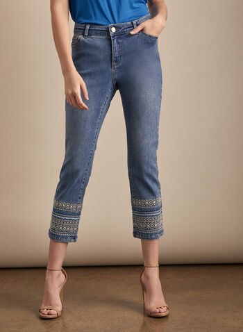 Embroidered Denim Capris, Blue,  spring summer 2020, sequins, embroidery, denim, ziip fly, buttons, pockets