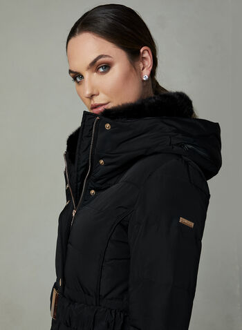 Novelti - Long Quilted Down Coat, Black, hi-res,