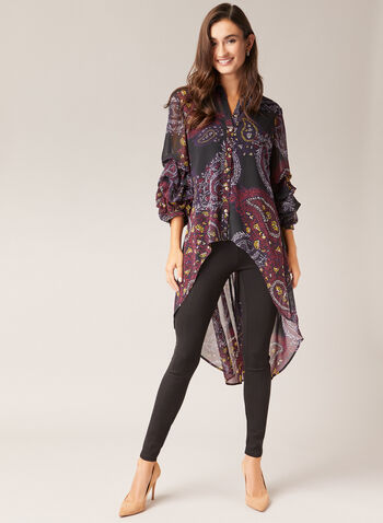 Paisley Print Chiffon Tunic, Black,  tunic, shirt collar, paisley, 3/4 sleeves, gathered, button down, chiffon, high low, fall winter 2020