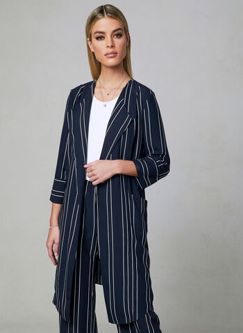 Stripe Print Duster Jacket, Blue, hi-res,  spring 2019, open front, ¾ sleeves, cascading