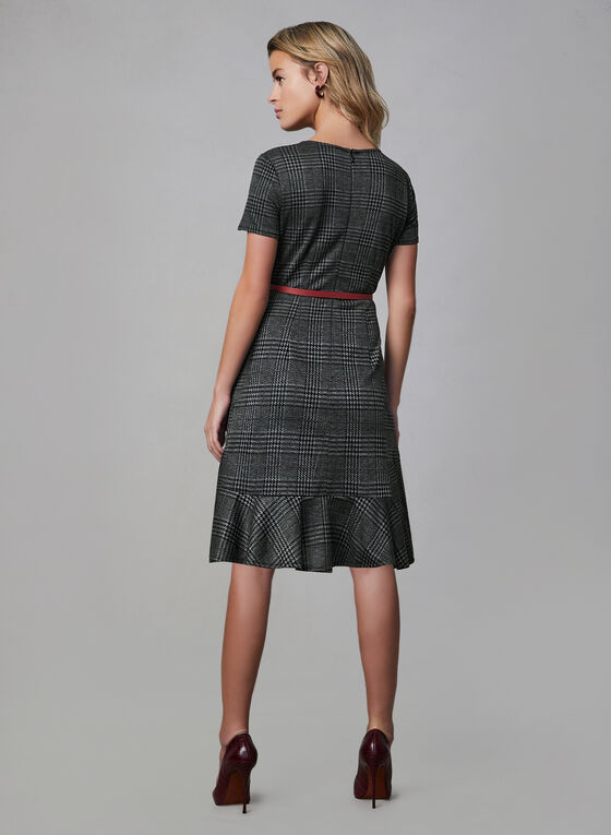 Ruffled Hem Plaid Dress , Black