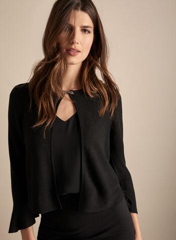 Alison Sheri - Rhinestone Detail Bolero, Black,  bolero, knit, glitter, rhinestone, bell sleeves, 3/4 sleeves, spring summer 2020