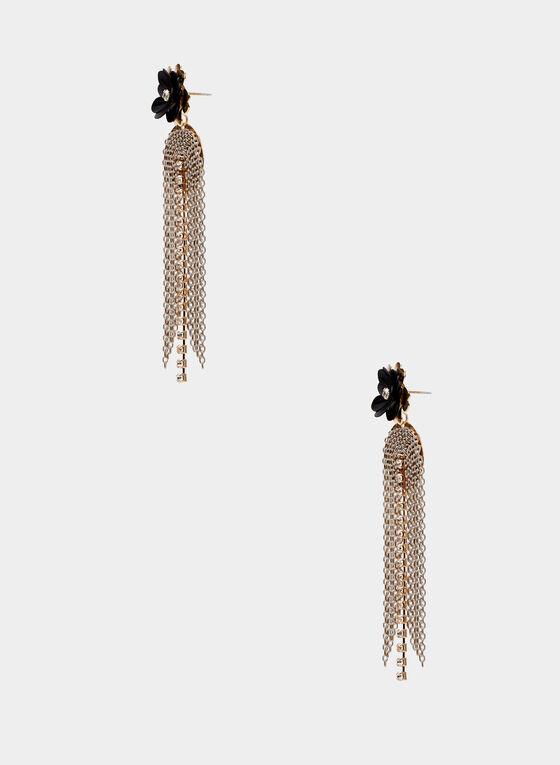 Boucles d'oreilles cascade de chaînes, Noir