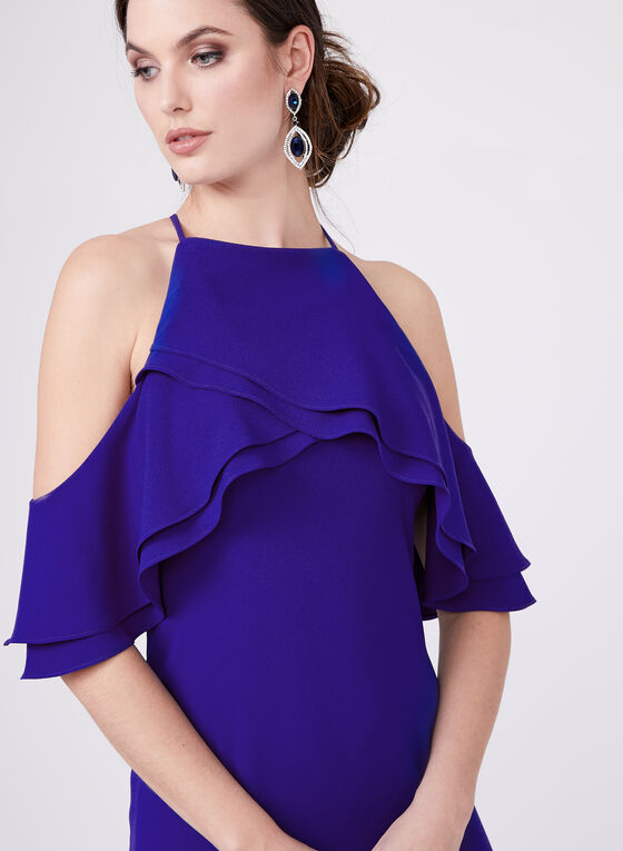 Marina - Cold Shoulder Ruffle Dress, Blue, hi-res