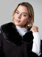 Ness - Faux Fur Trimmed Poncho, Black
