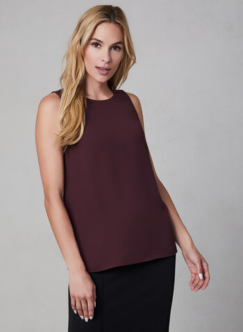 Sleeveless Blouse, Purple,  blouse, sleeveless, fall 2019, winter 2019