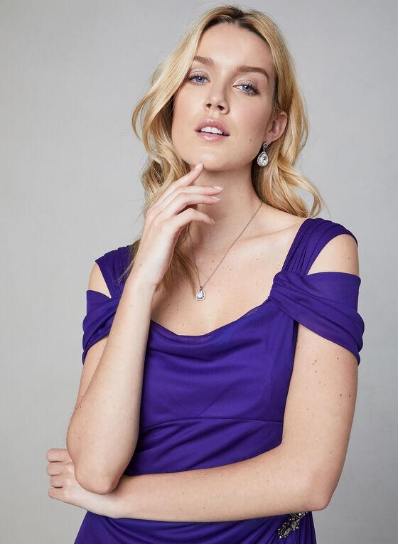 Alex Evenings - Robe longue avec drapé, Violet, hi-res