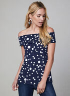 Polka Dot Print Top, Blue, hi-res