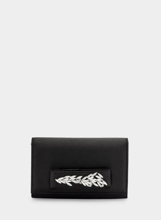 Pochette à rabat à détails cristaux, Noir