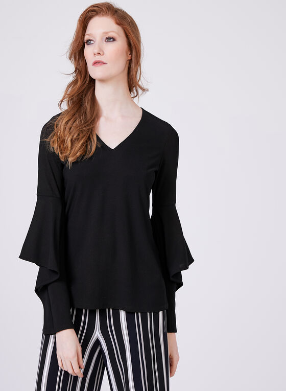 Angel Sleeve Crepe Top, Black, hi-res