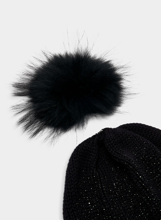 Glitter Knit Tuque, Black, hi-res
