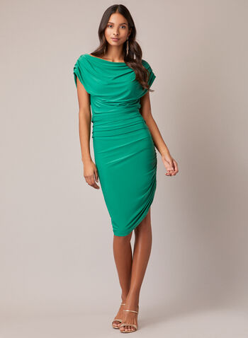 Draped Cocktail Dress, Green,  fall winter 2020, dress, cocktail dress, short sleeves, boat neckline, draped, fitted, tight, asymmetrical, slit, jersey