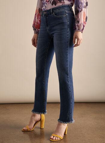Jeans à jambe évasée et ourlet frangé, Bleu,  jeans, jambe évasée, ourlet frangé, poches, coton, printemps été 2020