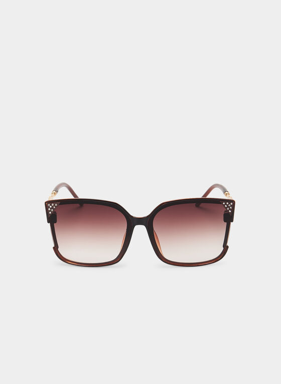 Square Frame Sunglasses, Brown