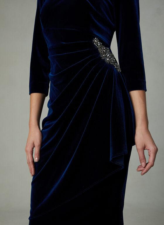 Alex Evenings - Ruched Velour Dress, Blue