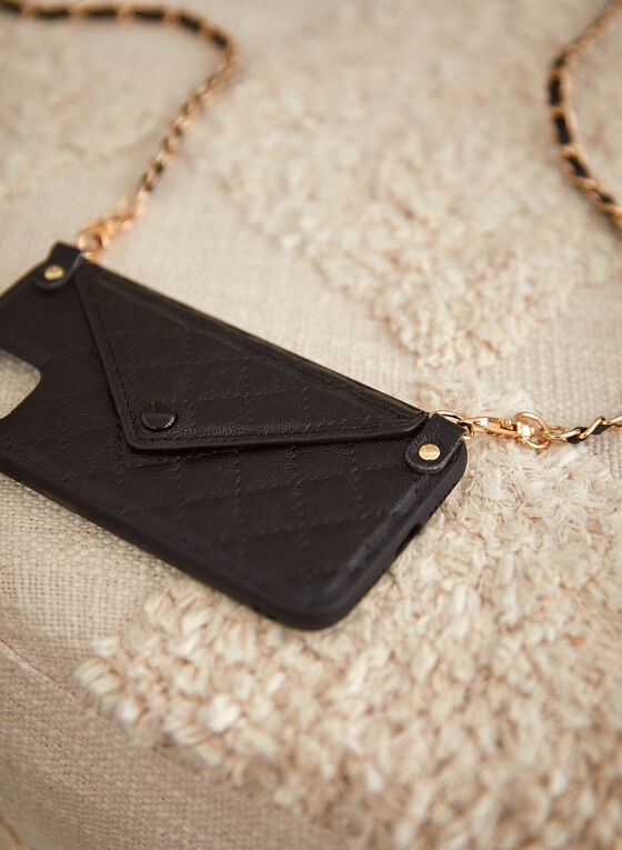 Quilted iPhone Case With Crossbody Chain, Black
