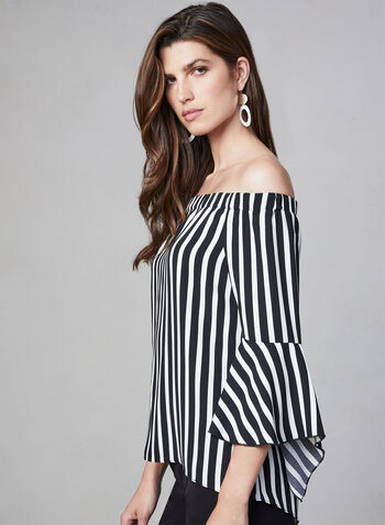 Striped Off-the-Shoulder Blouse, Black,  Canada, blouse, 3/4 sleeves, bell sleeves, stripe print, off the shoulder, fall 2019, winter 2019