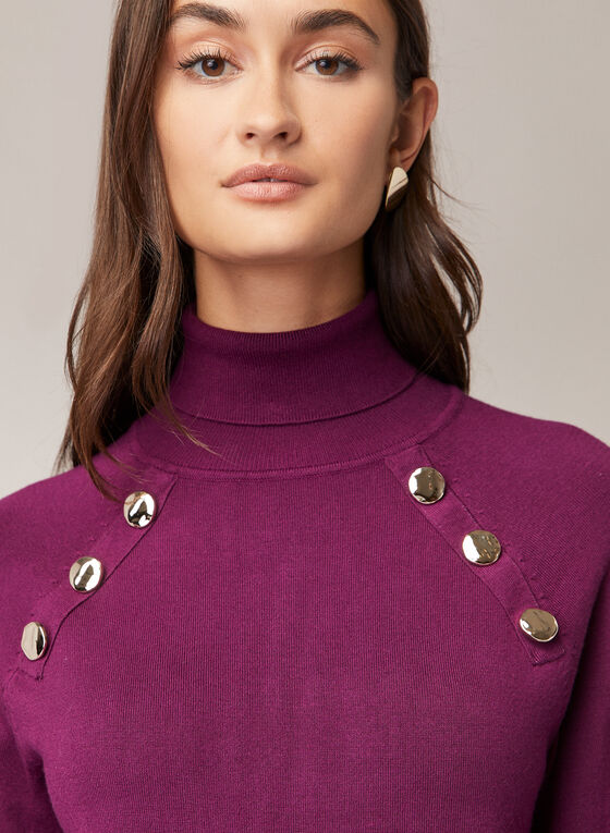 Balloon Sleeve Turtleneck Sweater, Purple