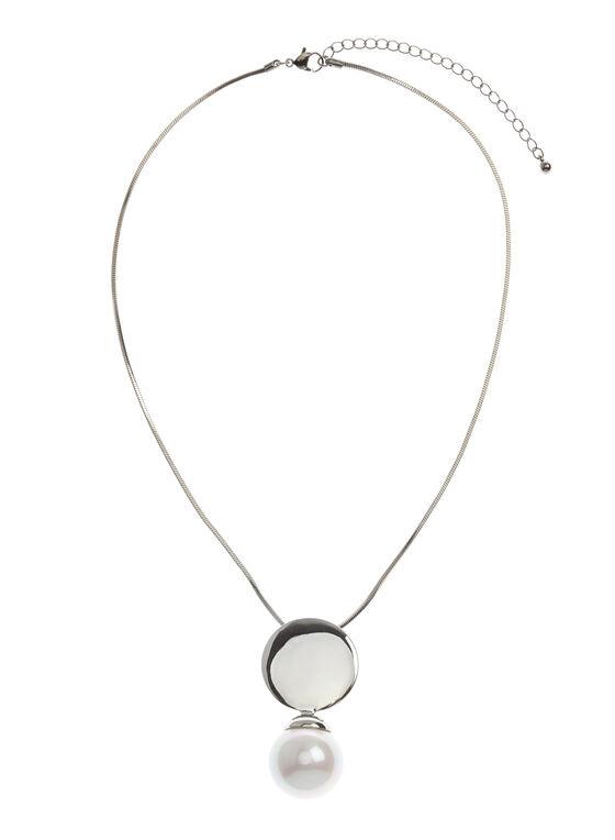 Collier chaîne serpent et perle, Blanc cassé, hi-res