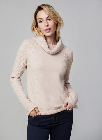 Cowl Neck Sweater, Pink,  fall winter 2019, straight leg, knit, long sleeve, cowl neck