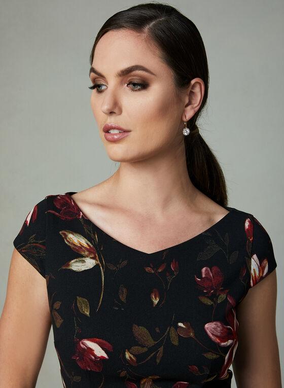 Robe fleurie coupe fourreau, Noir, hi-res