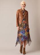 Tropical Print Cross Neck Dress, Multi