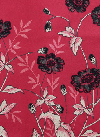 Reversible Floral Print Scarf, Pink,