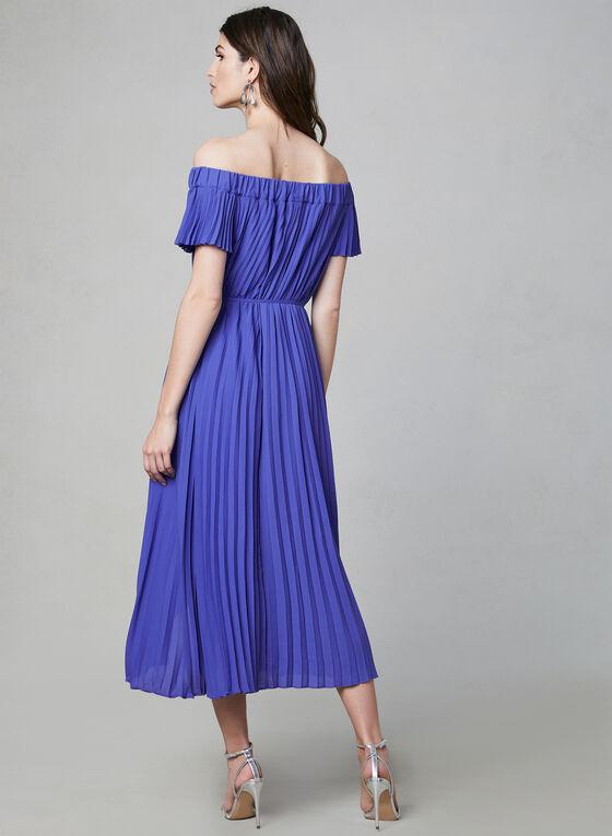Maggy London - Robe plissée à épaules dénudées, Bleu, hi-res